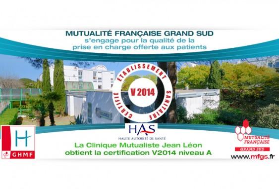 Niveau A : meilleur niveau de certification pour la clinique mutualiste Jean Léon